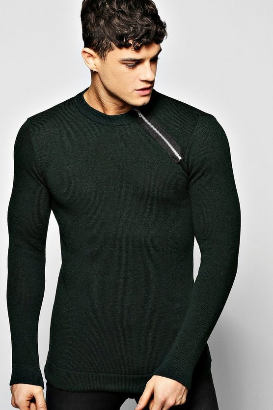 Fine Gauge Crew Jumper With Shoulder Zip