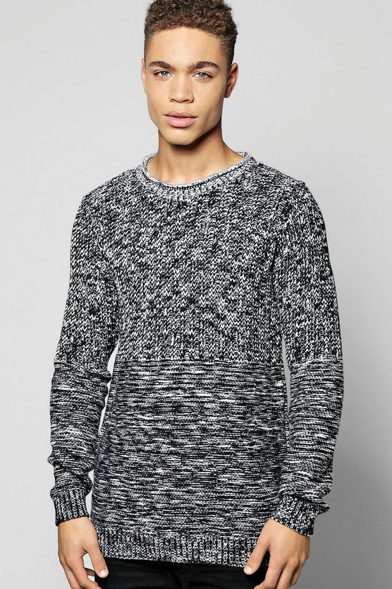Mixed Knit Scoop Neck Jumper