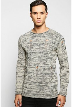 Bagel Neck Distressed Space Knit Jumper