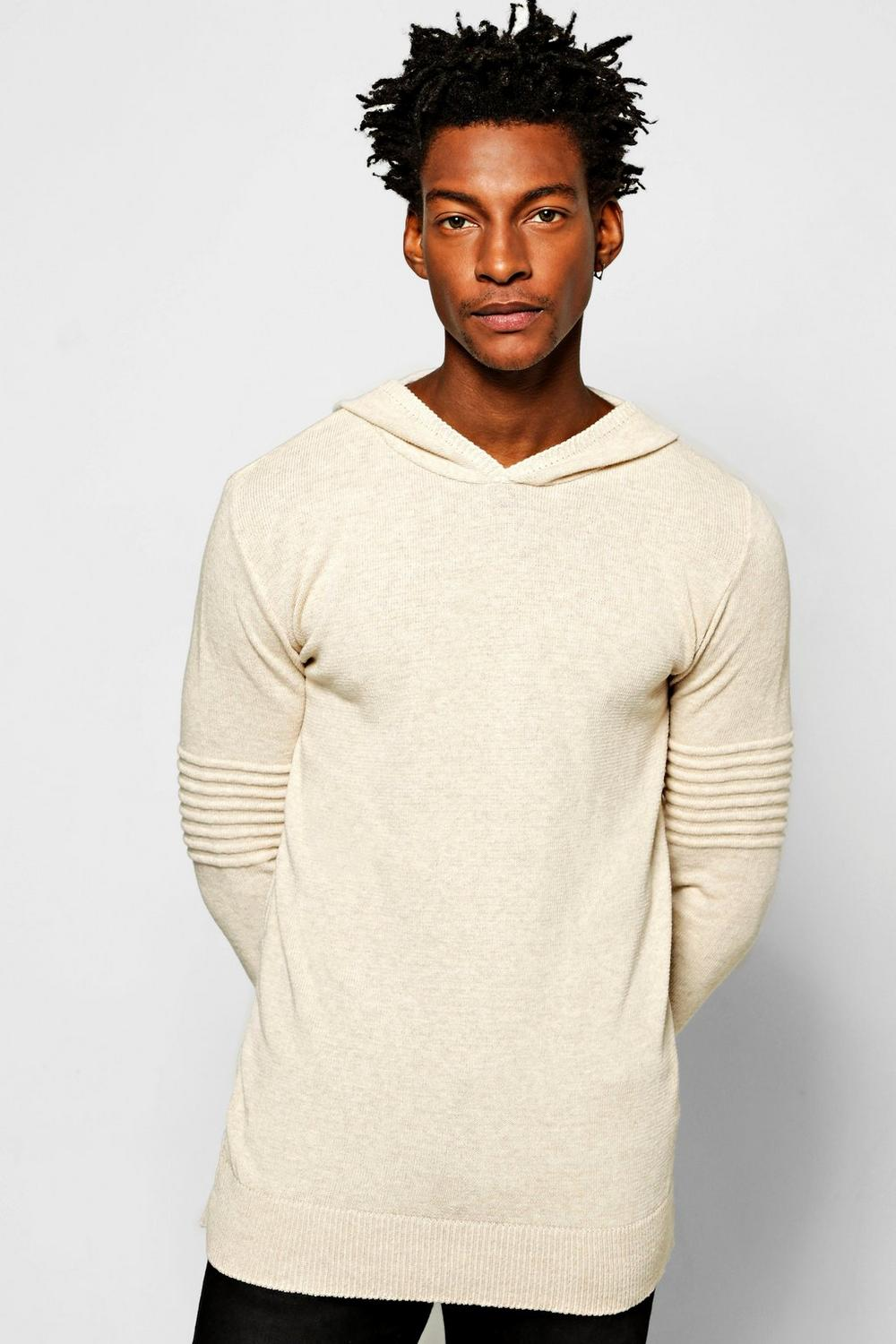 Knitted Hoody With Biker Detailing