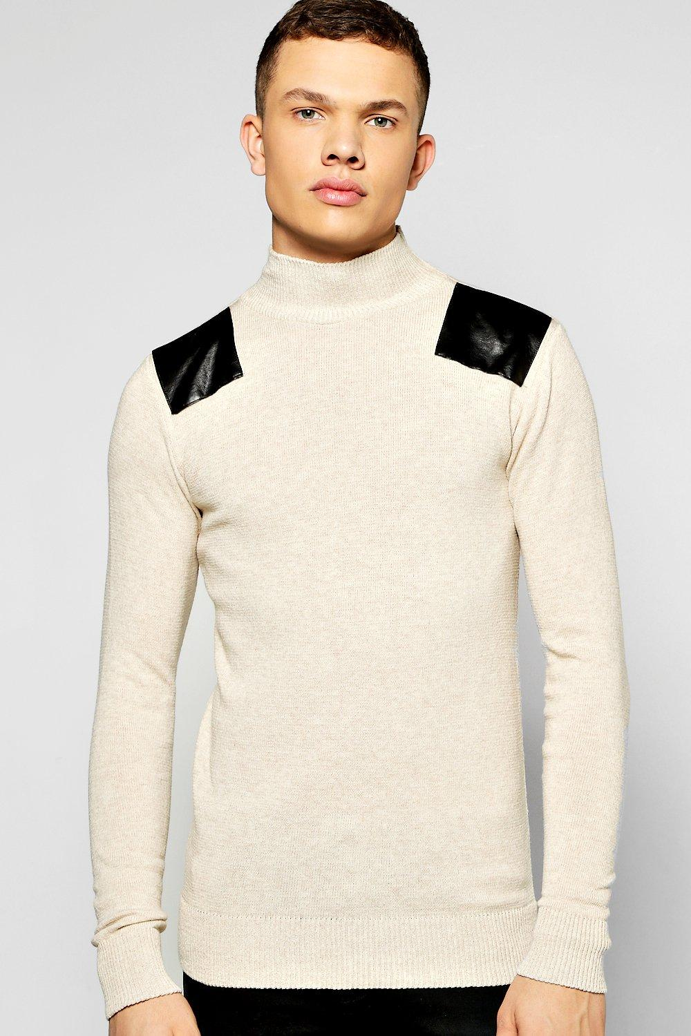 Fine Gauge Hi-Neck Jumper With PU Panels