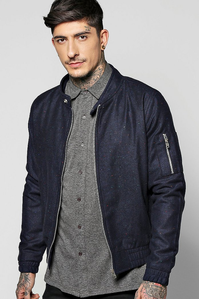 Warm Handle Herringbone Harrington Jacket