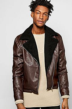 PU Aviator Jacket W Borg Collar