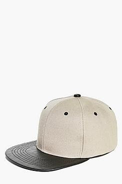 Plain Snapback With PU Peak