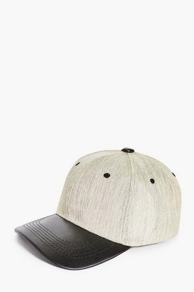 Textured Baseball Cap With PU Peak