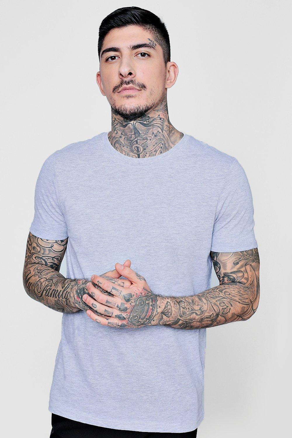 Crew Neck T Shirt With Roll Sleeves