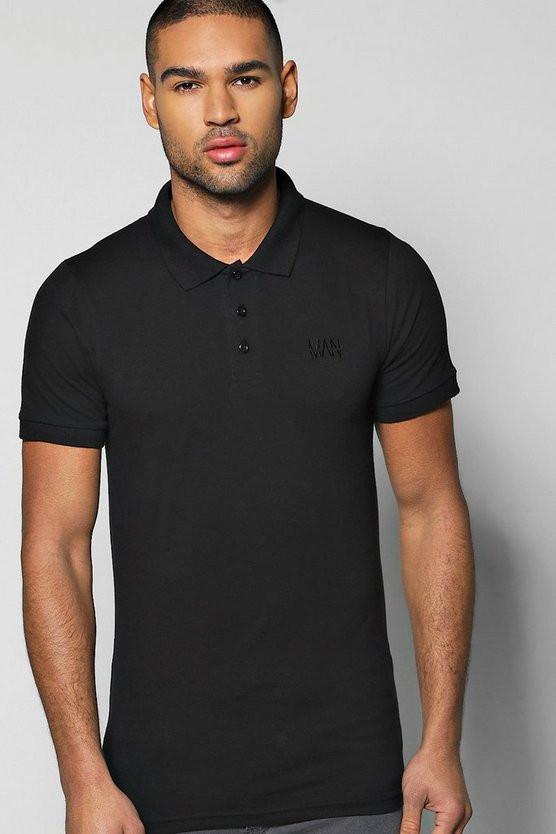 Short Sleeve Muscle Fit Polo With Logo