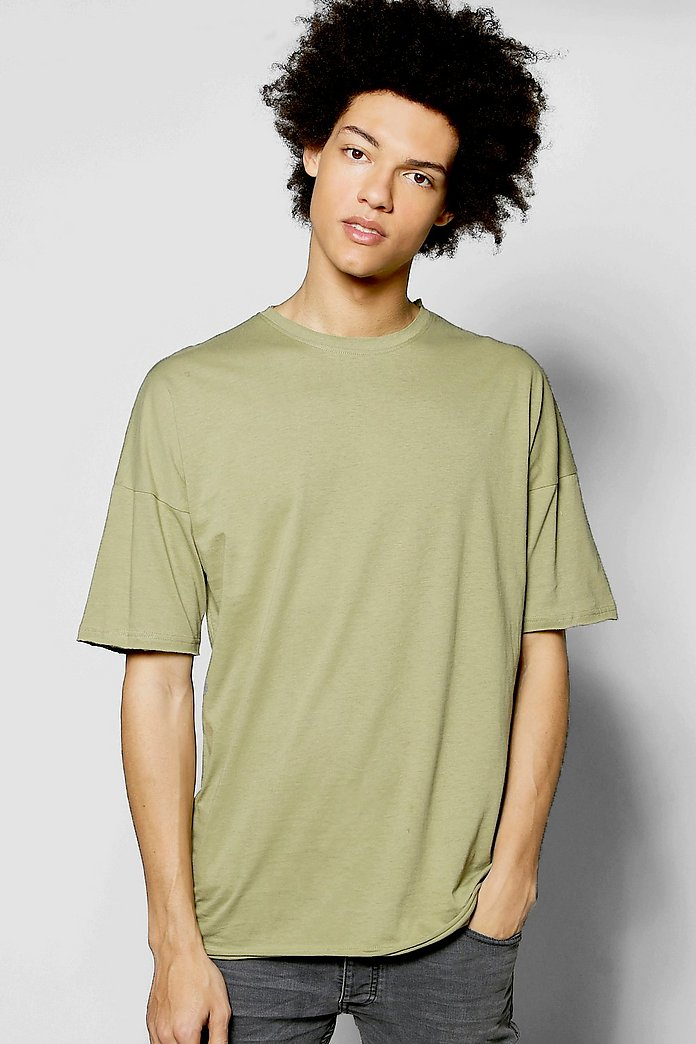 Oversized Crew Neck Raw Edge T Shirt