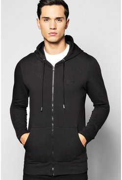 Muscle Fit Zip Through Hoodie With Logo