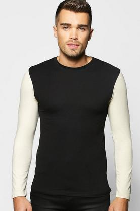 Long Sleeve Contrast Muscle Fit T Shirt