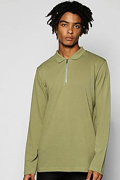 Long Sleeve Pique Polo With Zip Placket