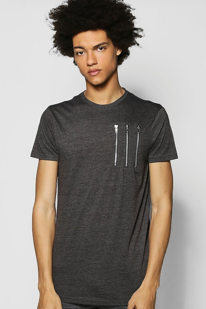 Curved Hem T Shirt With Zip Placket