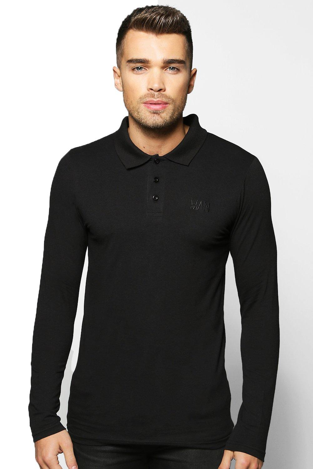 Long Sleeve Muscle Fit Polo With Logo