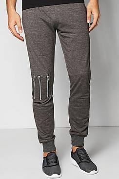 Skinny Fit Pique Joggers With Knee Zips