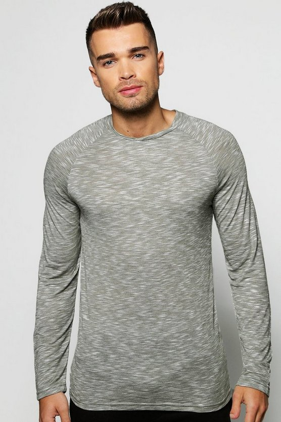Long Sleeve Slub T-Shirt With Curved Hem
