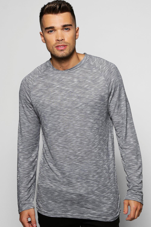 New boohoo mens long sleeve slub t shirt with curved hem for What is a slub shirt