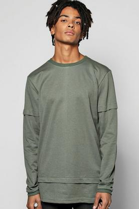 Faux Layer Sweatshirt With Extended Hem