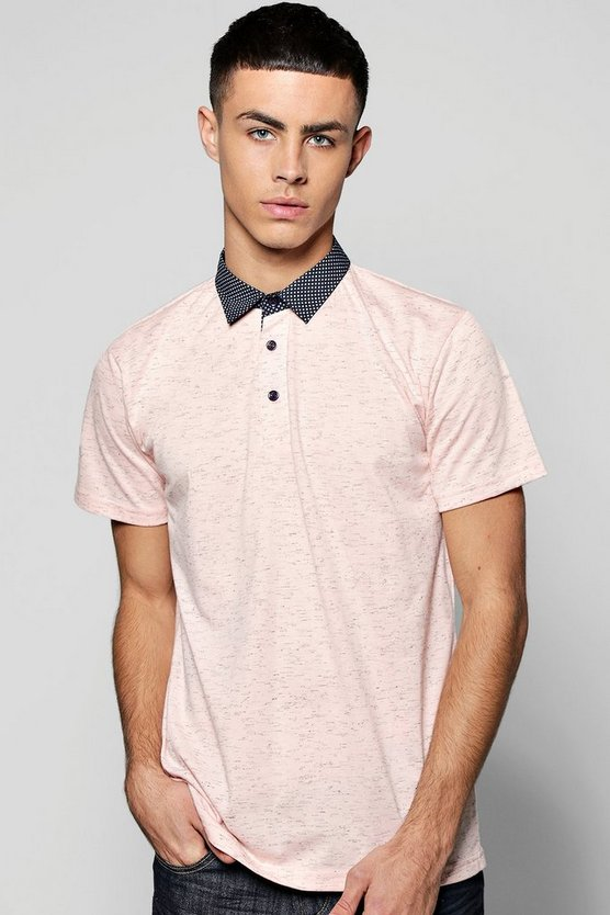Space Dye Polo With Shirt Collar