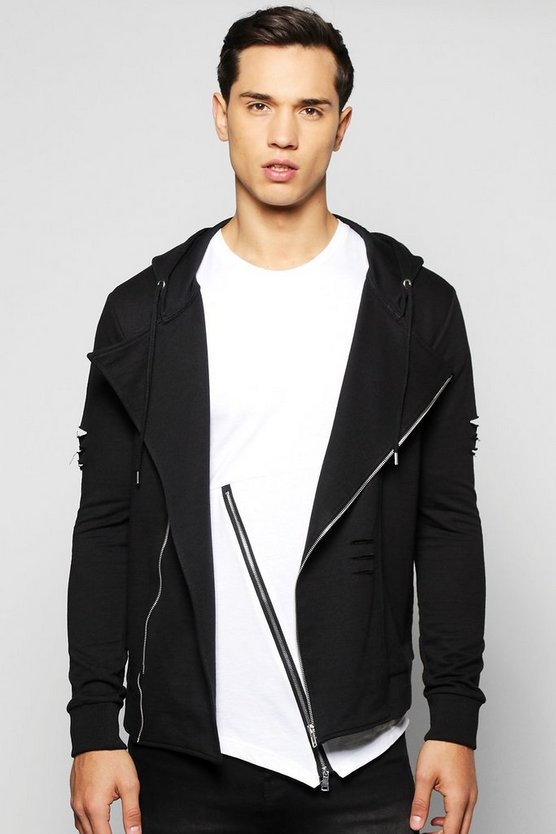 Jersey Destressed Asymmetric Biker Jacket