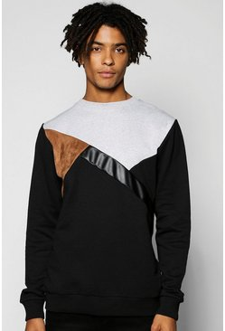 Spliced Sweatshirt With PU And Suede Panels