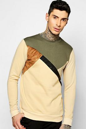 Spliced Sweater With PU And Suede Panels