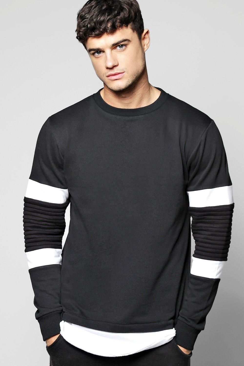 Colour Block Biker Sweat W/Extended Hem