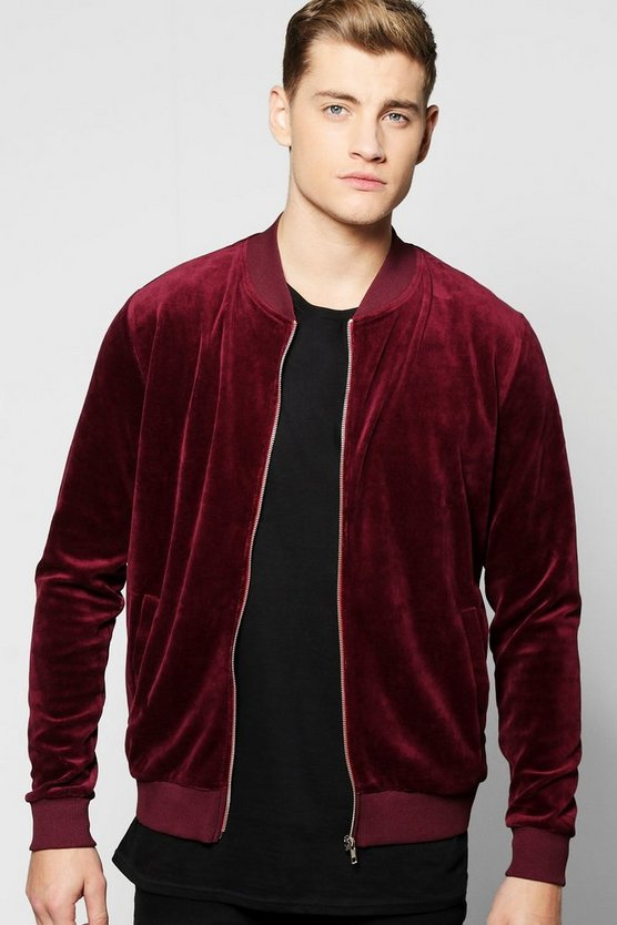 Velour Bomber Jacket