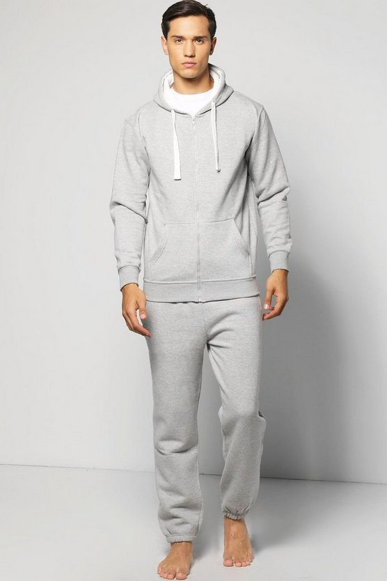 Slim Fit Waffle Hooded Tracksuit