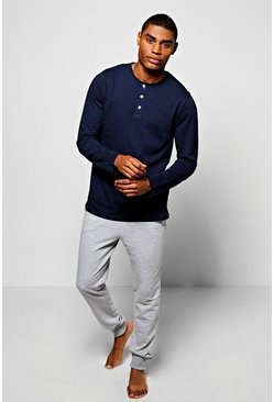 Long Sleeve Henley With Lounge Joggers