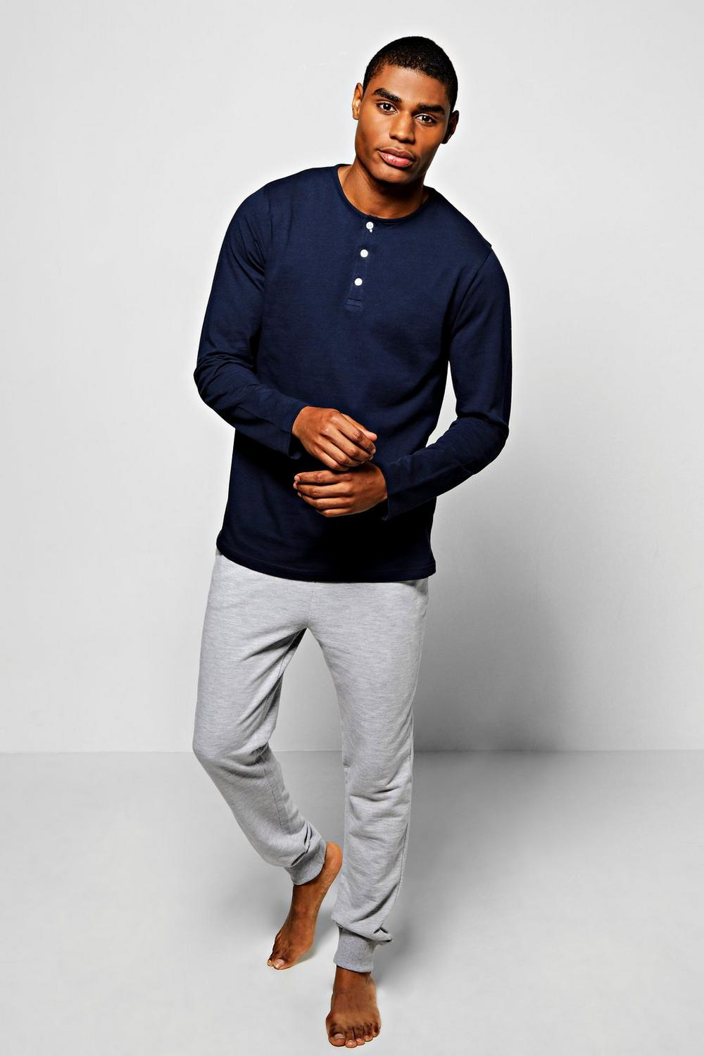 Long Sleeve Henley With Lounge Jogger