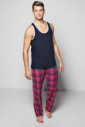 Woven Check PJ Set With Ringer Vest