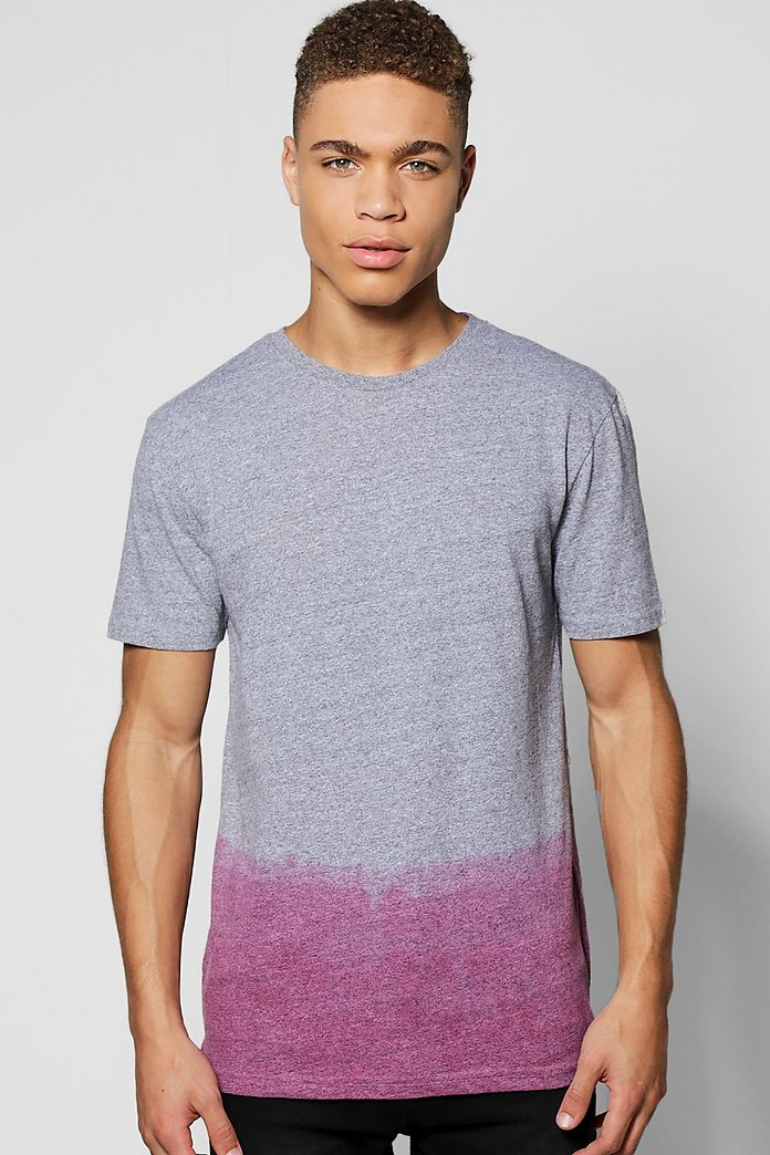 Longline Scoop T Shirt In Dip Dye