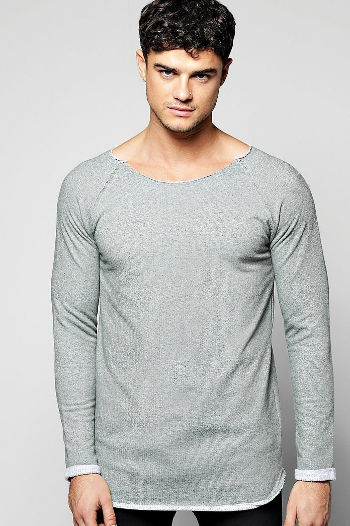 Longline Raw Edge Sweatshirt With Raglan Sleeves