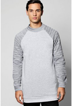 Longline High Neck Sweatshirt With Raglan Sleeves