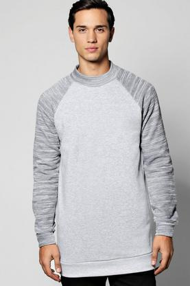 Longline High Neck Sweater With Raglan Sleeves