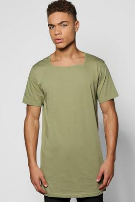 Longline T-Shirt With Square Neck