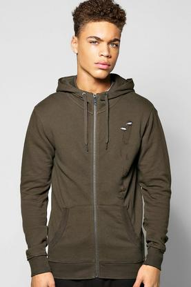 Distressed Zip Through Hoodie
