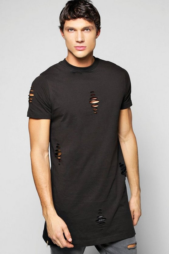 Longline Destroyed T-Shirt With Side Zips