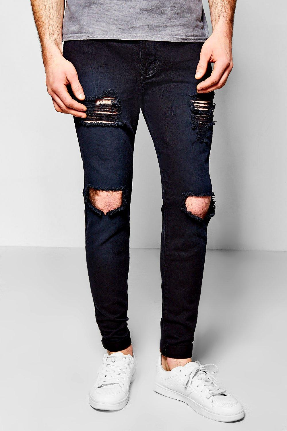 Skinny Fit Black Rigid Jeans With Open Rips