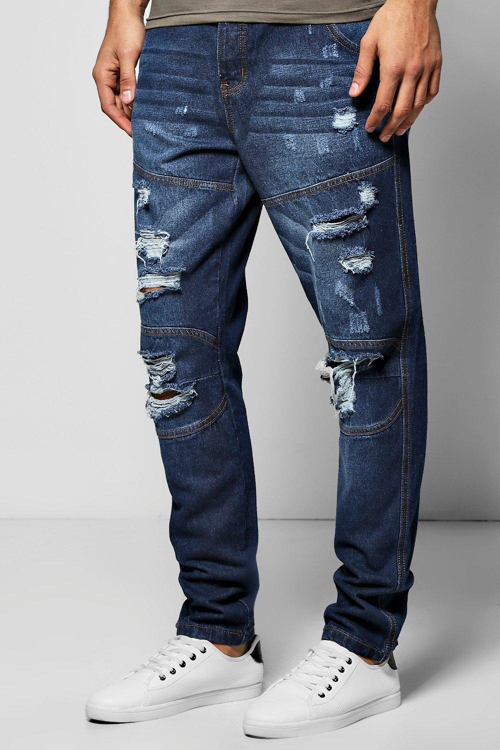 Tapered Fit Panelled Jeans With Extreme Rips