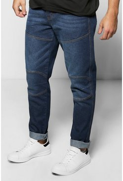 Tapered Fit Panelled Jeans
