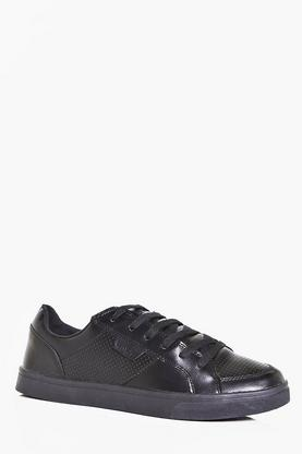 PU Lace Up Trainers With Perforated Panels