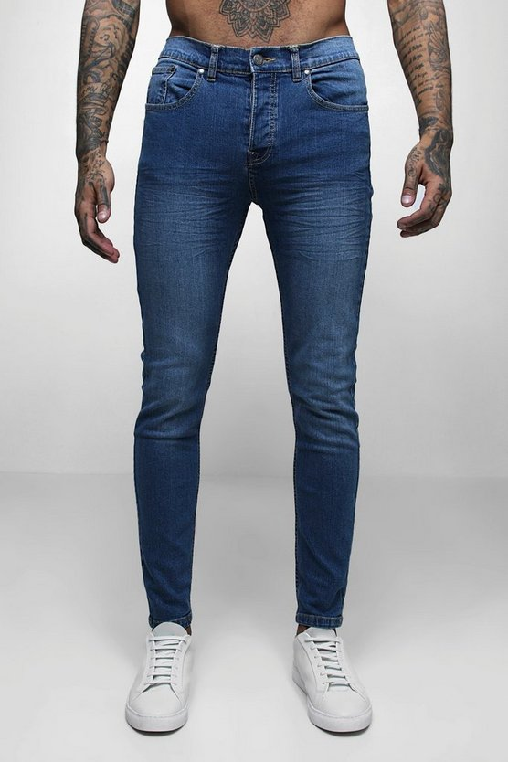 Skinny Fit Denim Jeans in Mid Blue