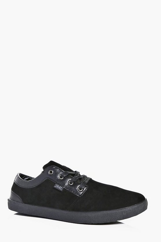 Suede And Pu Panelled Lace Up Plimsoll