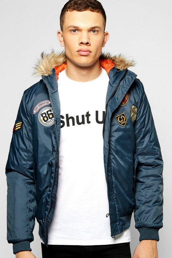 Fur Hooded Badged MA1 Bomber