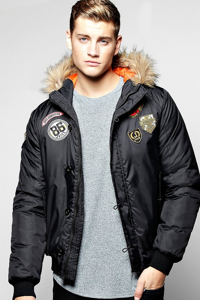 Faux Fur Hooded Badged MA1 Bomber