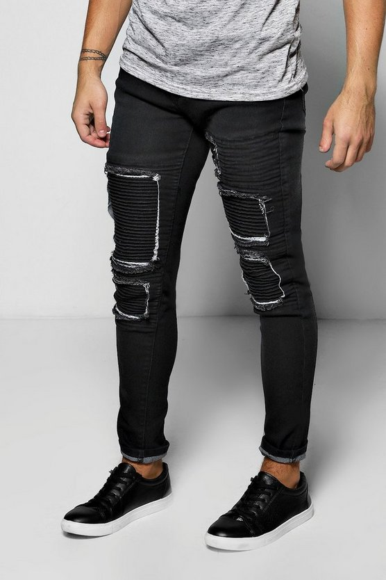 Skinny Fit Rip And Repair Biker Jeans