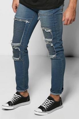 Premium Skinny Fit Rip And Repair Biker Jeans