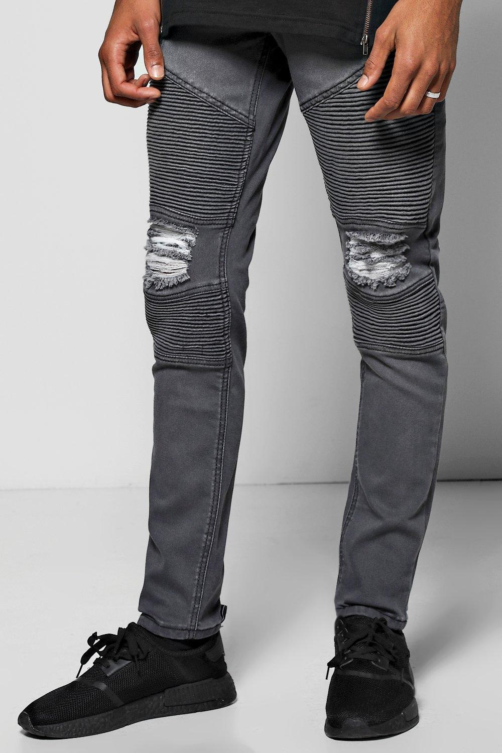 Skinny Fit Biker Jeans With All Over Rips