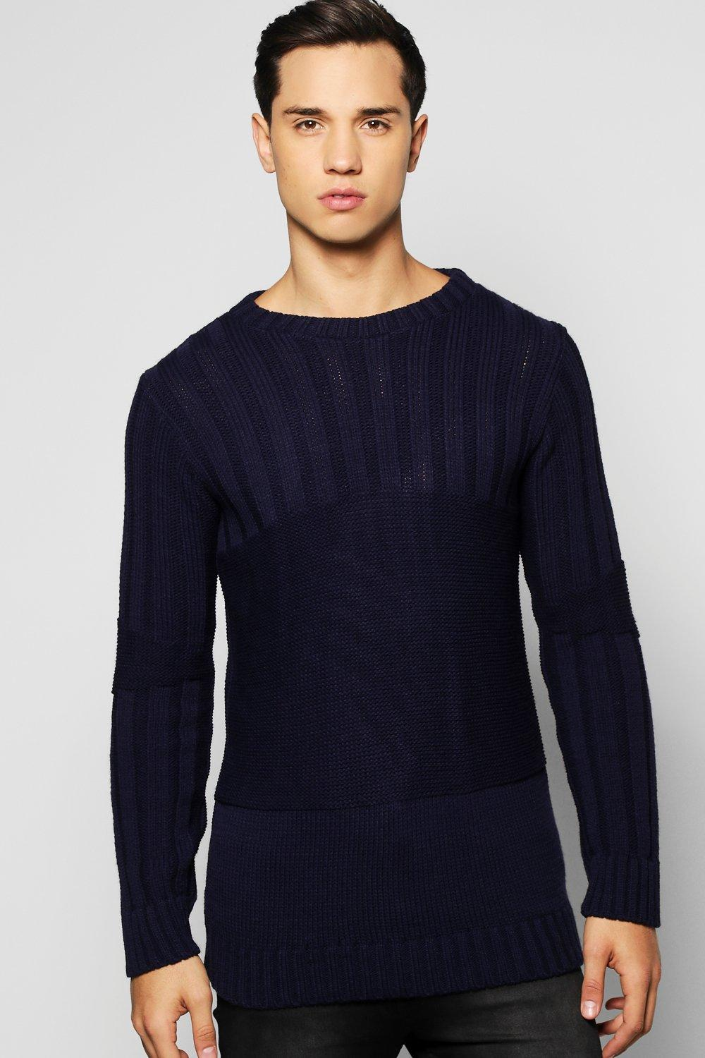 Biker Detail Muscle Fit Ribbed Jumper